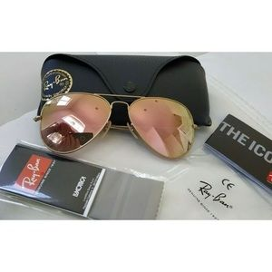 Ray Ban Pink Aviators Sunglasses